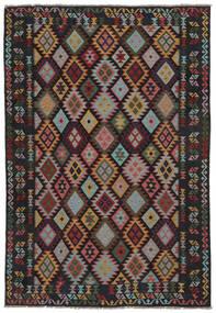 Kilim Afegão Old Style Tapete 207X299 Oriental Tecidos À Mão Preto/Castanho Escuro (Lã, Afeganistão)